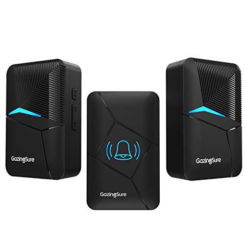 Wireless Doorbell, GazingSure 1500ft Range Plug-in Cordless Door Chime Kit, One Transmitter Two Receivers - Black