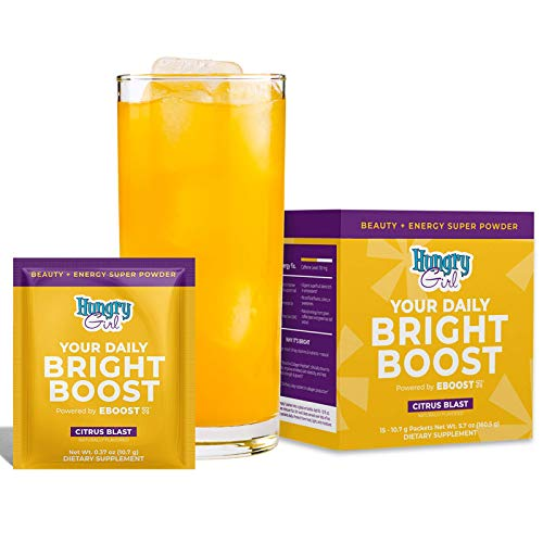 EBOOST Hungry Girl Your Daily Bright Boost - Beauty and Energy Powder - 15 Packets - Collagen Peptides for Healthier Hair, Skin and Nails - 15 Vitamins and Minerals for Daily Health and Immune Support