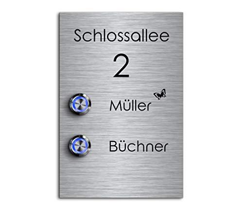 2 Fach Türklingel Doppel-klingel mit zwei Tastern und Namen Gravur Familienhaus Edelstahl Klingelplatte für 2 Familien 12x18 cm mit über 70 Motiven Modell: Büchner-P