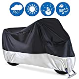 Motorcycle Cover, Ohuhu All Season Waterproof Snowproof Motorbike Covers with Lock Holes, Fits up to 108' Motors Bikes Scooters for Honda, Yamaha, Suzuki, Harley, Kawasaki(XX Large), Black-Silver