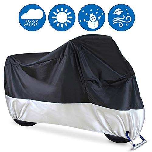 XXL Harley etc Yamaha Protected Year Round for Honda Suzuki Tokept All-Weather Indoor Outdoor Waterproof Motorcycle Cover-Heavy Duty Black Oxford