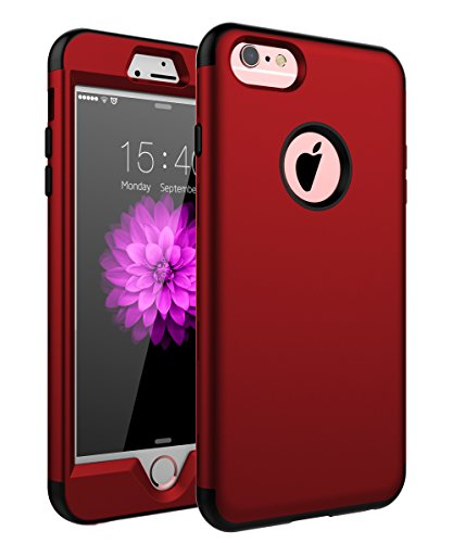 """SKYLMW Case for iPhone 6 Plus, Case for iPhone 6s Plus, Three Layer Heavy Duty High Impact Resistant Hybrid Protective Cover Case for iPhone 6 Plus/6s Plus (Only for 5.5""""), Red"""