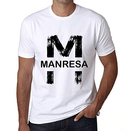Hombre Camiseta Vintage T-Shirt Gráfico Letter M Countries and Cities MANRESA Blanco