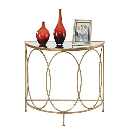 Bureau DD wandtafel, woonkamer veranda huis glas tafel opslag metalen beugel halfronde smeedijzer goud 24