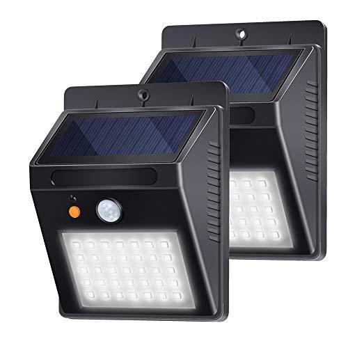 Luci del portico Lampada Solare da Esterna 35 LED Luci solari per Parete Esterni con Sensore Impermeabile IP65 per Veranda, Cortile, Giardino Illuminazione di sicurezza Bianco 6000K 2 Pezzi