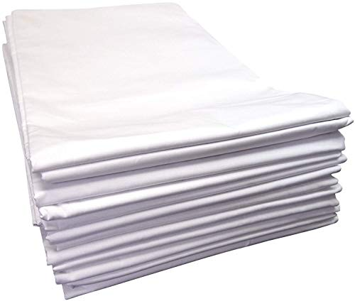 Linteum Textile (12-Pack, 66x104 in, White) Twin Flat Sheets, 180 Thread Count