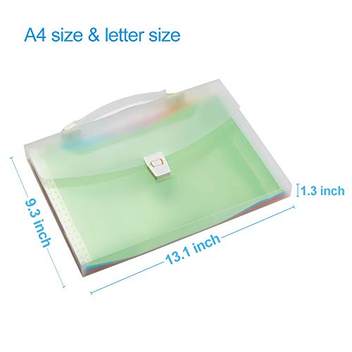 13 Pockets Expanding File Folder with Handle, Waterproof Organizer File Folder at A4/Letter Size, Filing Folders Used for Organizing Bills and Paper Files-WEGAZ Photo #6