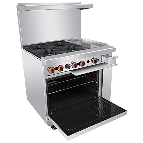 """Commercial Gas Range, 4 Burner Heavy Duty Range With Standard Oven and 12 Inches Griddle, 36"""" Natural Gas Cooking Performance Group for Kitchen Restaurant, 148,000 BTU"""