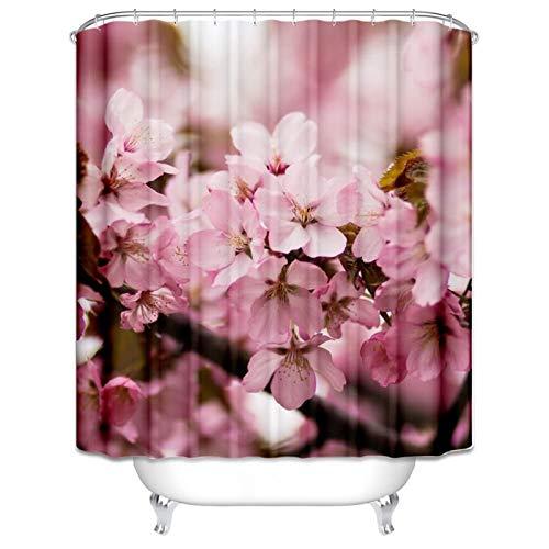 Daesar Antischimmel 3D Duschvorhang 180x200 cm Pfirsichblüte Badvorhang Vintage Polyester-Stoff