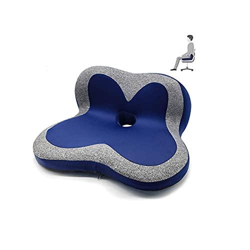 WGLL Cojín de Espuma de la Memoria del cojín del Asiento con la Parte Inferior de la esplendor de Llevar - Alivio del Dolor Cojín de Coccix para la Silla de la Oficina de la Silla de Ruedas (Azul)