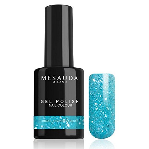 Smalto Semipermanente GEL POLISH NAIL COLOUR 51 Glitter Azzurro 10 ml MESAUDA