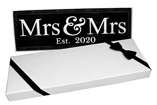 Craftwize Mrs & Mrs Wooden Lesbian Same Sex Wedding Sign (Large, 2020)