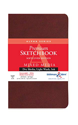 Stillman & Birn Alpha Series Softcover Sketchbook, 5.5' x 8.5', 150 gsm (Heavyweight), White Paper, Medium Grain Surface