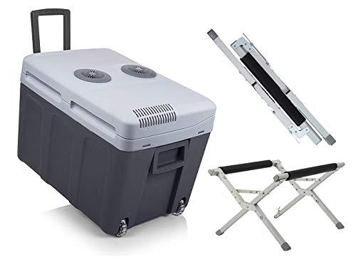 Grote 40 liter thermo-elektrische reiskoelbox 12 V/230 V met wielen en inklapbare standaard voor auto en camping