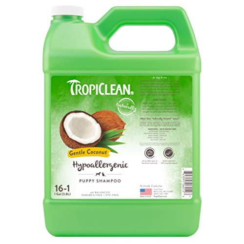 TropiClean Gentle Coconut Hypoallergenic Puppy and Kitten Shampoo, 1 gal - Gentle Cleansing for Dogs and Cats with Sensitive Skin, Made in the USA