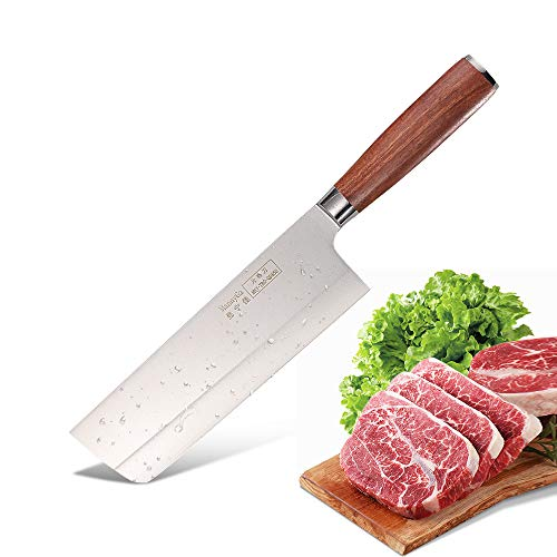 MannyGa Nakiri Knife 7 Inch Japanese Chef's Knife with Ergonomic Handle Knife for Kitchen and...