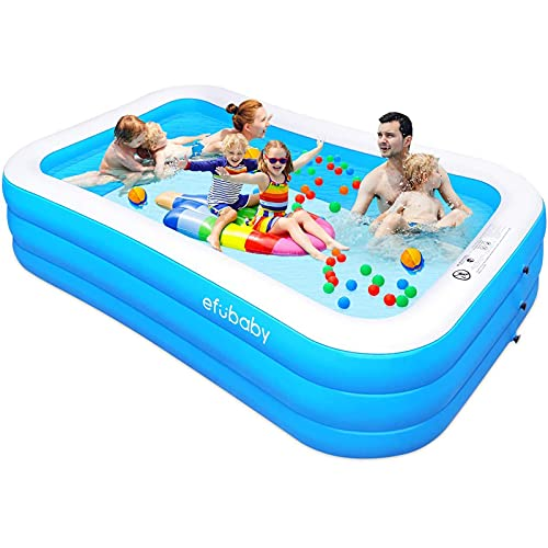 """efubaby Inflatable Pool, 120"""" X 72"""" X 22"""" Full-Sized Swimming Pools Inflatable Kid Pools Blow up Pool Toddler Pool Family Pool for Baby, Kiddie, Adult Ages 3+ Outdoor Garden Backyard Ground Party"""