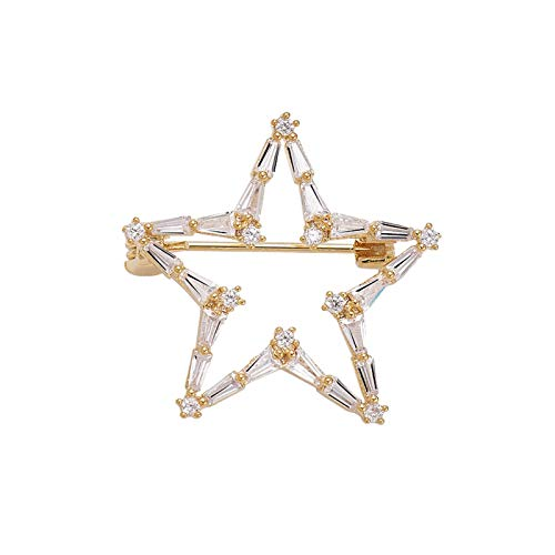 hkwshop Pin Broche Pin de Estrellas, Broche Lindo de Las Mujeres, joyería de Regalo de Las Mujeres Accesorios de Ropa Personalizada 2.6 * 2.6cm Duradera y práctica Solapa Broche