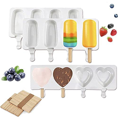 Silicone Popsicle Molds, 3 Pack Ice Pop Molds with 50 Wooden Sticks Wooden Sticks Cakesicles Mould Homemade Cake Pop Maker for DIY Kids