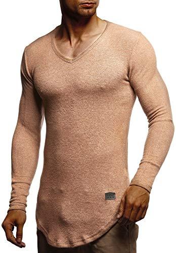 Leif Nelson Herren Pullover V-Ausschnitt Slim Fit Schwarzer Männer Longsleeve dünner Pulli Sweatshirt Langarmshirt Jungen Hoodie T-Shirt Langarm Oversize LN8117 Beige Large