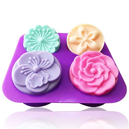 lmmak 4 Cativy 3D Flowers Snowflake Silicone Mold for Baking Chocolate Candy Cake Cupcake Decoration Jelly Ice Cube Soap Gummy Crayons Lollipop Gum Paste Polymer Clay