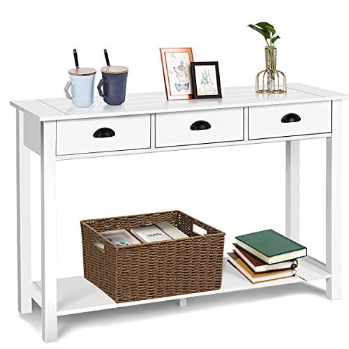 GIANTEX Konsolentisch weiß, Beistelltisch mit 3 Schubladen, Flurtisch mit Ablage, Schreibtisch Holz im Landhausstil, Sideboard schmal für Wohnzimmer Vorraum Studierzimmer