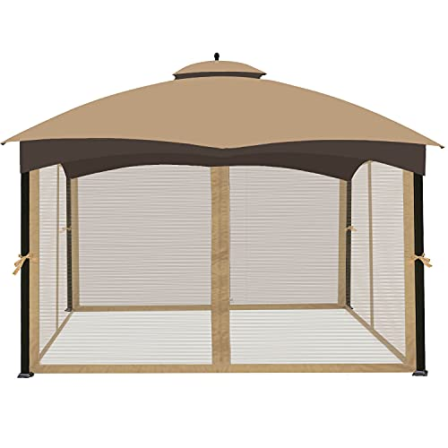 Ontheway Universal 10' x 12' Gazebo Replacement Mosquito Netting (Mosquito Net Only) (Light Brown)