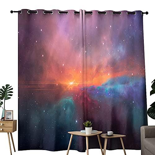 Space Sunset Cortinas opacas para dormitorio, aislamiento térmico con ojales para sala de estar (2 paneles) 157,5 x 183 cm