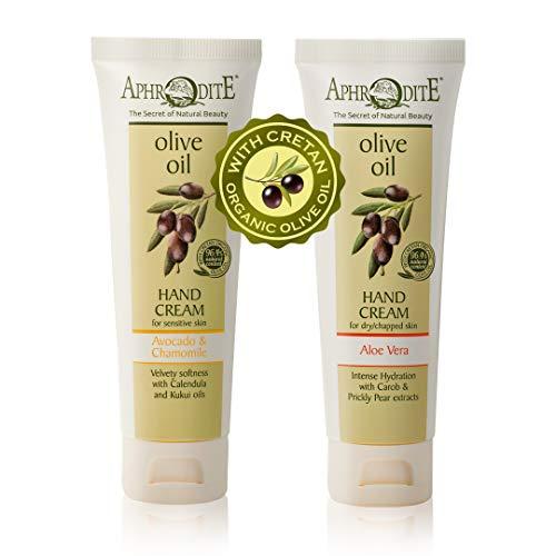 Aphrodite Hand Care Bundle. 2-teiliges Feuchtigkeitscreme-Geschenkset zur Linderung trockener, juckender Haut. Enthält Handcreme mit Avocado & Kamille (75 ml) und Handcreme mit Aloe Vera (75 ml)