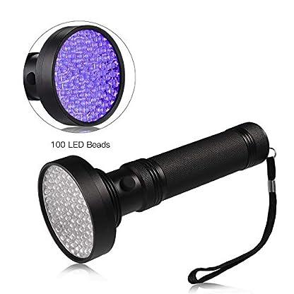 LEDGLE LED UV Flashlight UV Beast Pet Urine Finder Stain Detector Black Lights Torch, 100 LED Beads, with Lanyard 2