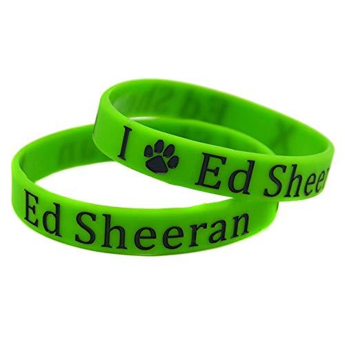 Xi-Link Pulsera Ed Sheeran Estrellas Debería Ser Una Mano con Brazalete De Silicona Suave Verde (Color : Green)