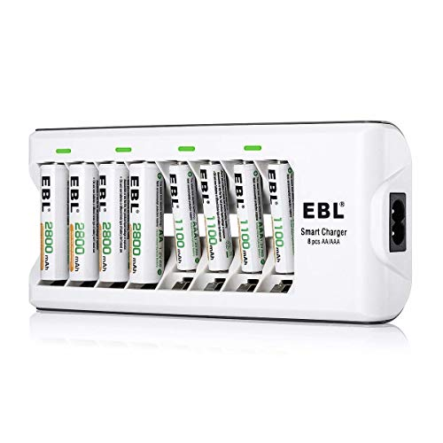 EBL Batterieladegerät für AA AAA NI-MH Akkus inkl. 4X AA 2800mAh, 4X AAA 1100mAh, 8-Fach Akku Ladegerät mit LED Anzeige