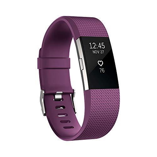Fitbit Charge 2 Pulsera de Actividad física y Ritmo cardiaco, Unisex, Ciruela, S