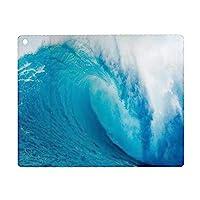iPad 9.7 ケース 2018と2017年モデル 軽量 薄型 レザー 海の装飾、波状の海の冒険的なサーフィンエクストリームウォータースポーツサマーホリデーの目的地の写真、アクアホワイト オートスリープ機能 スマートカバー 2017年と2018年発売の9.7インチ iPad 対応