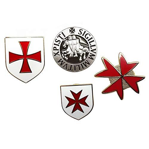 BOBIJOO Jewelry - Lot Ensemble de 4 pin's Ordre de Malte Chevaliers Templiers Sceau Croix Blasons Rouge