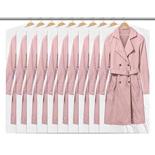 """QH-Shop Fundas Ropa Antipolvo Prueba de Polilla Impermeable Fundas para Trajes para Camisas Disfraces Abrigos 10 Unidades 24""""x 60"""""""