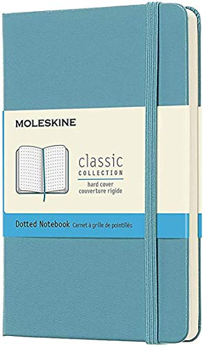"""Moleskine Classic Notebook, Hard Cover, Pocket (3.5"""" x 5.5"""") Dotted, Reef Blue, 192 Pages"""