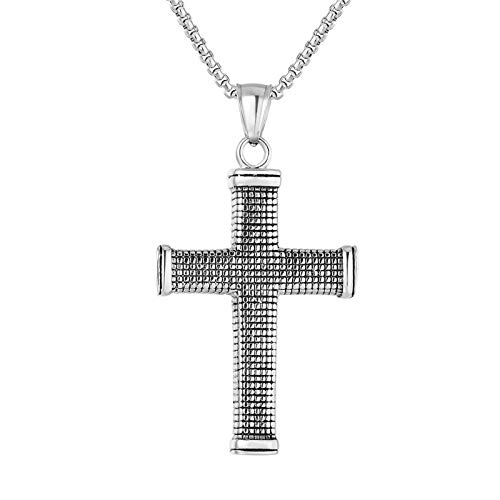 Aienid Men's Necklace Gold Stainless Steel Silver Cross Necklace Men