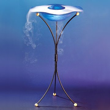OBreeze FM102BL Floor Mist Fountain, Outdoor or Indoor Fountain, 4 Legged Standing Fountain with 12 Color Changing LED Lights And Inline Control, On/Off Switch Fogger Unit, Blue