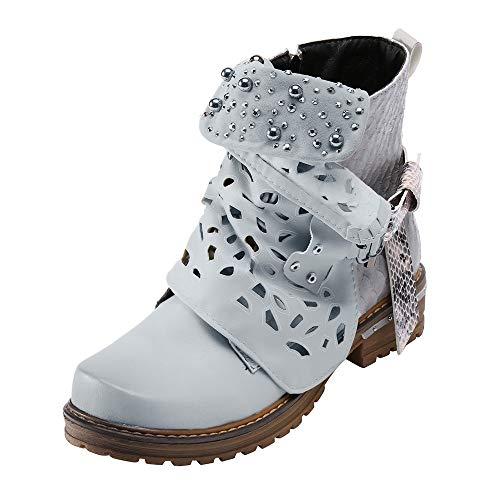 Yesmile Damen Stiefeletten Gürtelschnalle Ankle Short Booties mit Blockabsatz Reißverschluss Worker Boots Übergrößen Flandell Casual Kurz Stiefel
