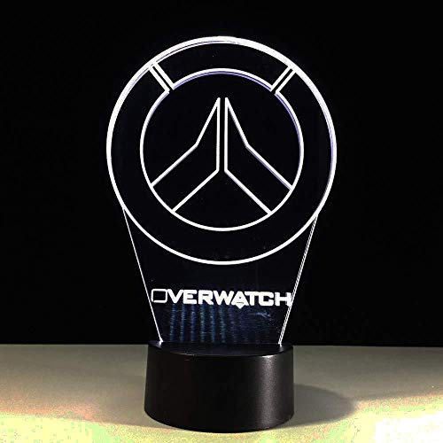 3D Overwatch Lámpara de mesa Colorido Led Luz de...
