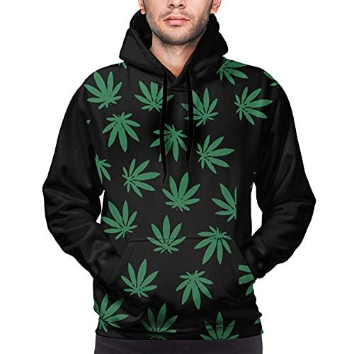 AZHA Hojas de cannabis para adultos, con capucha para hombre, de alta elasticidad, con capucha y bolsillos de canguro, hojas de maleza, moradas, con capucha, para uso diario, otoño e invierno, S