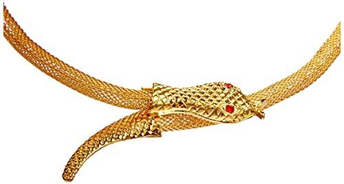 Boland 64330 - Halskette Schlange des Nils, 1 Stück, Einheitsgröße, goldene Kette mit rotem Strassstein, Modeschmuck, Ägypten, Cleopatra, Accessoire, Verkleidung, Kostüm, Karneval, Mottoparty