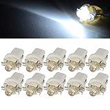 10 bombillas LED T5 B8.5D para salpicadero, cuadro de mando, color blanco, 12 V
