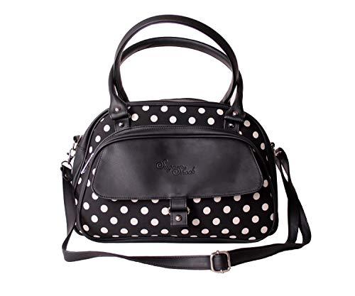 SugarShock Damen Shopper Sinaida Polka Dots Handtasche, Farbe:schwarz weiss