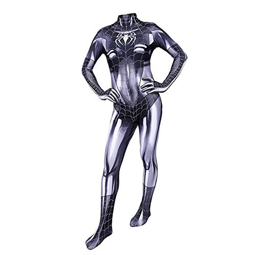 FLJLGY Disfraz de Spiderman para Mujer Traje de Cosplay de Halloween Mono de Gwen Disfraces Medias de Navidad Accesorios de Atuendo Leotardo Combinado para niñas,Black- Men 3X 180~185cm