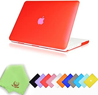 UESWILL Smooth Matte Hard Shell Case Cover for 13 inch White Unibody MacBook (Fits Model: A1342) + Microfibre Cleaning Cloth, Red