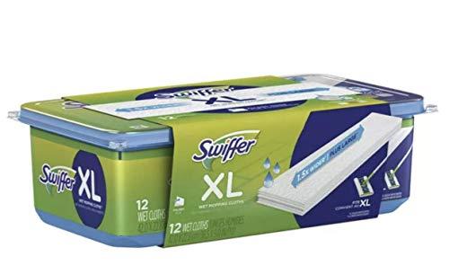 Swiffer 74471 Sweeper X Large Wet Mopp Ing Cloths, Open W Indow Fresh, 12 Folded Sheets