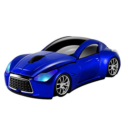 Usbkingdom Cool Sport Car Shape 2.4GHz Wireless Mouse Optical Cordless Mice with USB Receiver for PC Laptop Computer 1600DPI 3 Buttons Blue