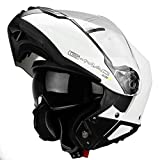 G-Mac Glide Evo - Casco da moto con apertura frontale, colore: Bianco lucido